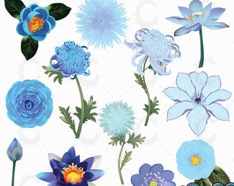 Blue Japanese Flower Clipart Collection