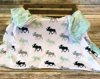 Moose Blanket- Moose Baby Bedding- Mint Baby Blanket- Baby Boy- Woodland Blanket- Baby Shower Gift- Baby Blanket- Minky Moose Blanket