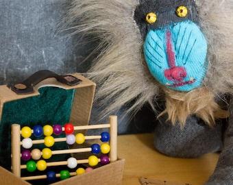 Handmade OOAK Mandrill Sock Monkey (plus luggage!)
