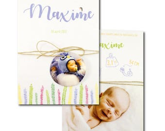 Birth announcements - watercolor - Silence that growth - nature - plant illustrations