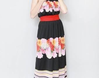 Vintage 1970's Gotten Floral Print Bandeau Maxi Dress