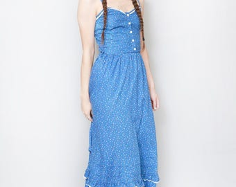 Vintage 1970's Blue Ditsy Floral Print Ruffled Maxi Dress
