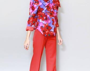 Vintage 1980's Raul Blanco Silk Floral Blazer