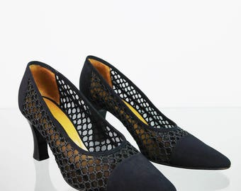 High heel vintage pumps with a net 41
