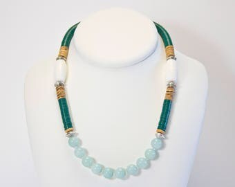 Amazonite necklace and coral