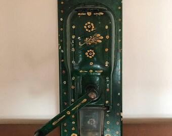 Vintage coffee grinder / painted / green flowers / coffee mill /