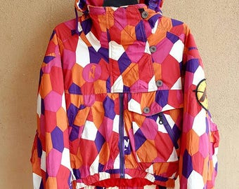 Nordica Hooded Pullover Ski Snowboard Retro Multicolor Windbreaker Jacket Size XL Made In ITALY