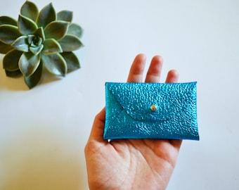 Metallic blue leather card case / Metallic blue envelope card holder / Blue leather business card case / Genuine leather