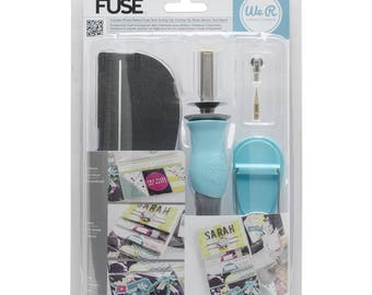 "We R Memory Keepers Fuse tool, Alphabet Punch, Fuse Mat, Fuse 12"" Ruler, and Fuse Attachments!"