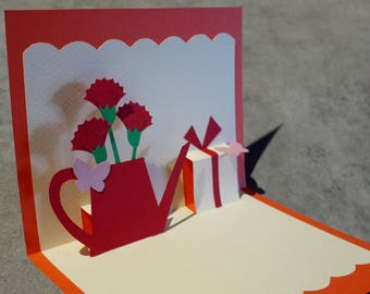 """Carnation"" Kirigami pop-up card"