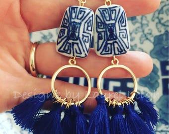 Ginger Jar Tassel Earrings | royal blue, hoops, post earrings, gold, blue and white, statement earrings