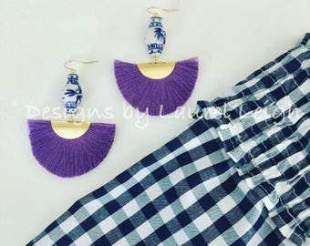 PURPLE Ginger Jar Fan Earrings | lightweight, blue and white, amethyst, chinoiserie, gold, Designs by Laurel Leigh