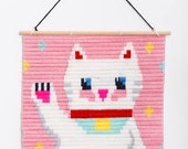 Maneki-neko, Lucky Japanese Cat Wall Art Embroidery kit, embroidery kit for beginers, Easy needle children kit, Needlepoint Kits for boys