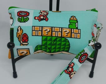 Mario Bros Wristlet-Super Mario 3-Mario-Luigi-Zippered Pouch-OOAK-Ready to Ship