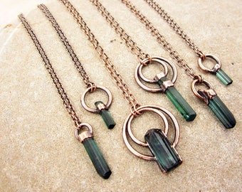 Blue Tourmaline Crystal Necklace | Indicolite Necklace | Terminated | Elbaite Tourmaline | Copper | Pendant | Raw Crystal | Natural | Uncut