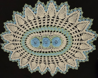Oval crocheted doily