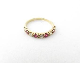 Vintage 14 Karat Yellow Gold Ruby and Diamond Ring Size 5.5 #3069