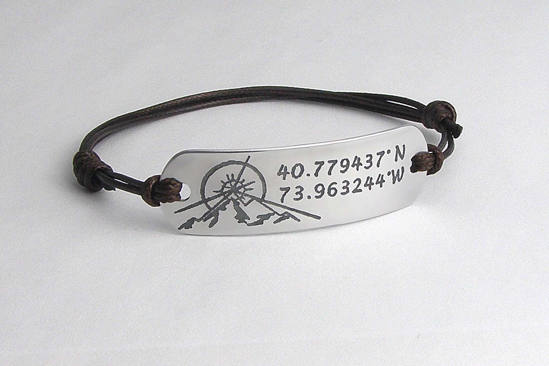 bronze lat and s men product mens long silver leather longitude masculine personalized bracelet handcrafted latitude sisters accent