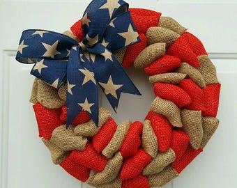 Patriotic wreath patriotic burlap wreath Independence day wreath primitive wreath 4th of july rustic wreath military wreath army navy marine