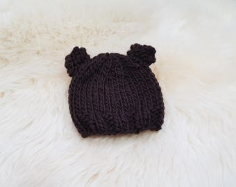 Teddy Bear Baby Beanie in Dark Brown