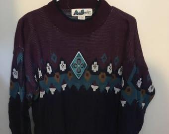 Vintage Purple & Blue Large Sweater