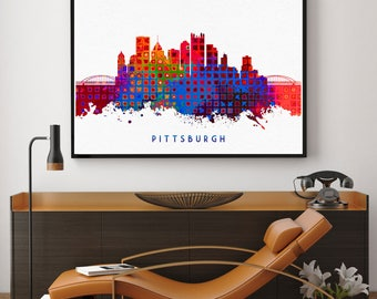 Pittsburgh Skyline Art, Pittsburgh Skyline Painting, Pittsburgh Wall Art, Pittsburgh Home Decor, Room Decor, Watercolor Baltimore (N154)