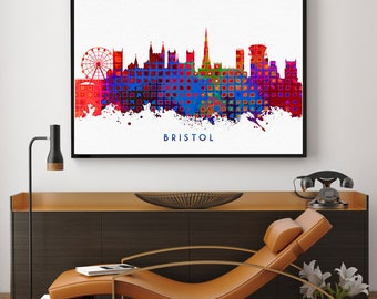 Bristol Skyline, Bristol Print, Bristol Poster, Wall Art Decor, Birthday Gift, Home Decor, Bristol Skyline Print, Giclee (N1018)