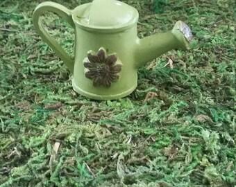 Fairy Garden Miniature Green Watering Can for your Fairy Garden, Fairy Furniture, Resin Watering Can, Gnome Village, Fairy Garden Accessory