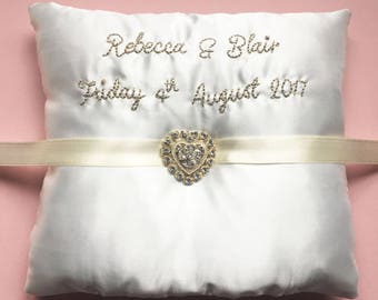Personalised Wedding Ring Cushion, Ivory Wedding Pillow, White Embroidered  Wedding Ring Pillow, Silk Ring Cushion, Diamante Brooch, Ribbon