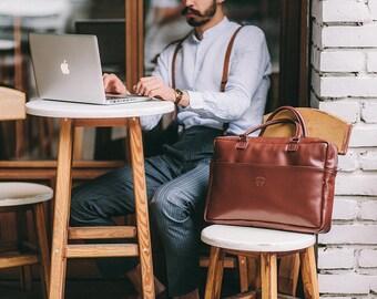 Mens leather briefcase brown - Leather briefcase men - Mens briefcase bag - Travel briefcase - Leather messenger bag - Laptop messenger bag