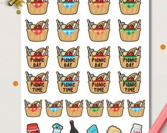 Picnic Planner Stickers | Food Stickers | Picnic Time | Picnic Day | Family Picnic