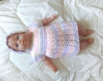 crochet dress and headband matching birth to 1 month