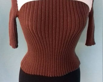 Handmade reproduction 1940s knitted top with 3/4 sleeves, knitted from a Sun-glo pattern