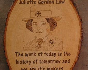 Girl and Boy Scout founders!  Wood Burning portraits and quotes