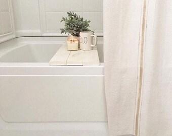 Bath Tub Tray Caddy, Bath Tray, Bath Caddy, Tub Tray, Bath Tray, Rustic Bathroom, Christmas Gift For Her, Mom Christmas Gift, White Tray