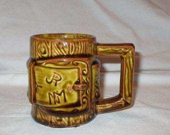 Vintage McCoy Brown Glazed Wood Banded Look Mug #934