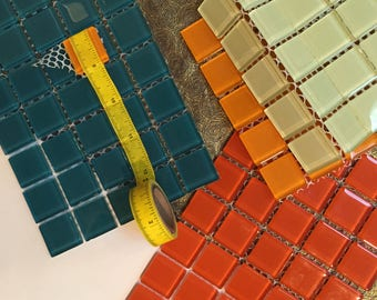 Glass, MOSAIC, 160 total, Tiles, 7/8 inch /22 mm, 3 mm, thick, square, 4, BRIGHT COLORS, teal, orange-red, bright orange, and celery