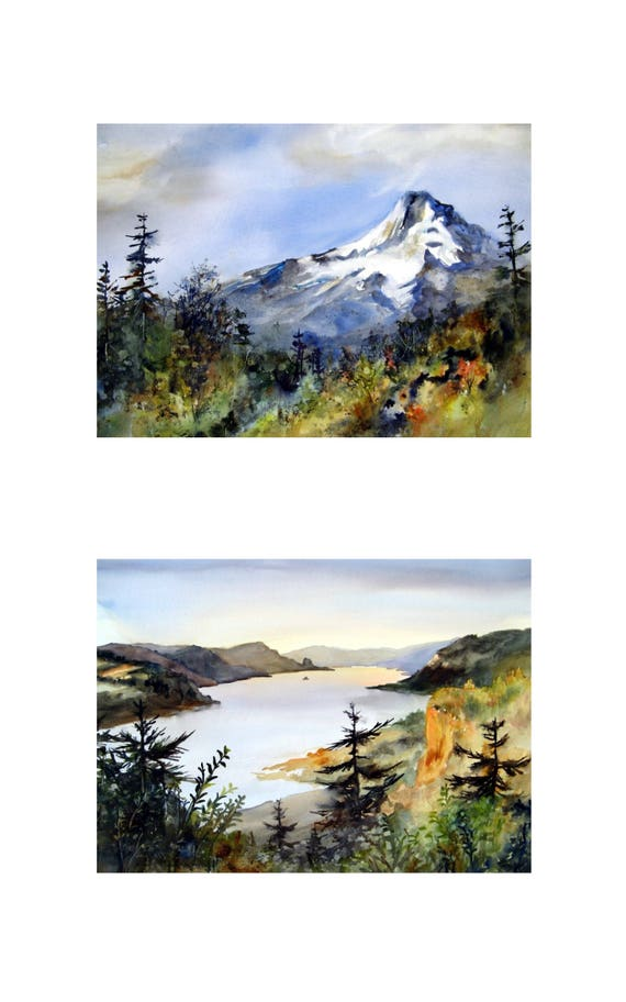 10x16 matted prints of watercolor paintings of Mt. Hood and The Columbia Gorge by Bonnie White