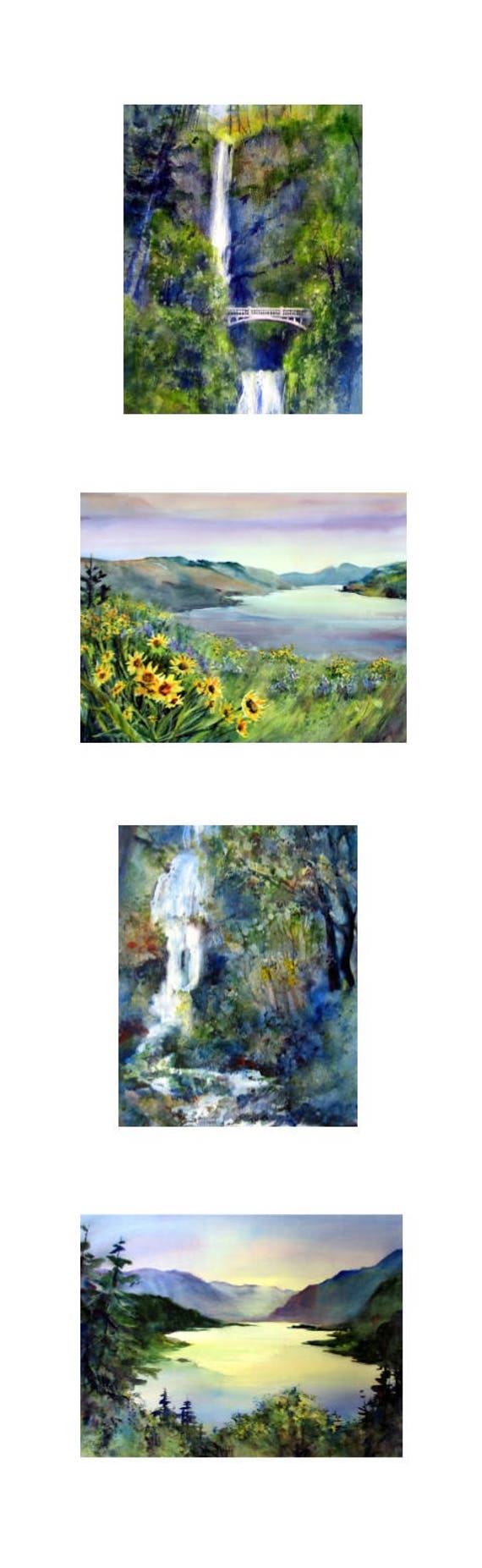 8 x 26 vertical Multnomah Falls 4 print series matted and/or framed by Bonnie White