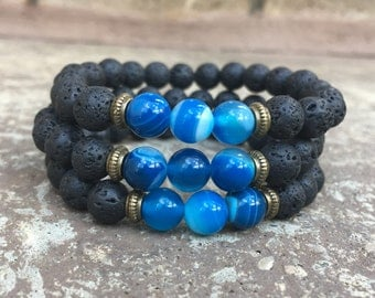 SIBLINGS BRACELETS - For Family - Brothers - Sisters - Great Gift For Your Siblings - I Love My Brothers & Sisters! Lava Stone Beads!