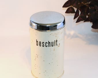 Tin for Dutch biscuit - in off white - Brabantia - Rusk tin