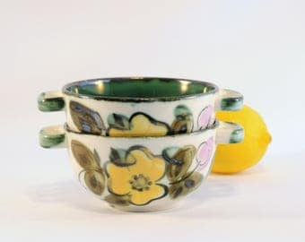 Two Soup bowls - Boch Belgium 'In the Mood' - Bohemian Vintage from the 70's