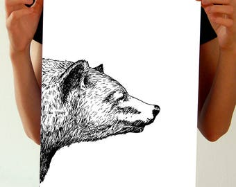 Bear Print - Black and White Prints - Ink Drawing Grizzly Bear Poster - Hand Drawn Art - Hipster Animal Wall Art - Grizzly Love, Bear Lover