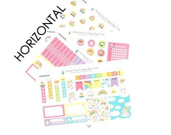 Happy Unicorn Rainbow Sticker Set HORIZONTAL Erin Condren Life Planner ECLP Mambi Kawaii Cute Weekly Kit Headers Flags Full Box Reminders