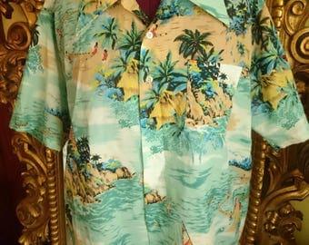 Vintage 1970's Men's Vancort Hawaiian Tiki Shirt
