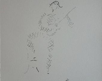 Jean COCTEAU : Harlequin playing the Guitar - Original Signed Lithograph