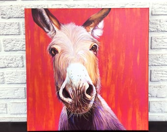 Donkey Painting with Hot Pink, Orange and Red Background. Donkey Canvas Wrapped Art Print by Kate Green