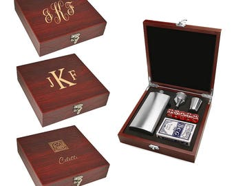 Flask and Gaming Set - Personalized Card, Dice and Flask Set - Customized Games Set - Monogram Wooden Playing Card, Die and Flask Gift