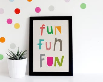 Playroom Decor, Nursery Prints, Kids Typography Poster, Hand Lettered Quote