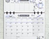 Schülerkalender Wandkalender Schuljahr 2017 2018 • Design: Eule hellblau • Kalender mit Feiertagen Ferienterminen Geschenk zur Einschulung